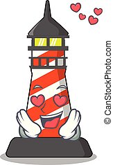 plage, phare, amour, mascotte