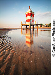 plage, phare, italie, lignano, sabbiadoro, rouges, friuli, levers de soleil