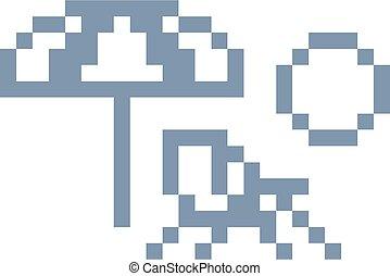 plage, pixel, 8, chaise, art, jeu, morceau, pont, vidéo, icône