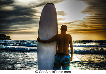 plage, planche surf, surfeur