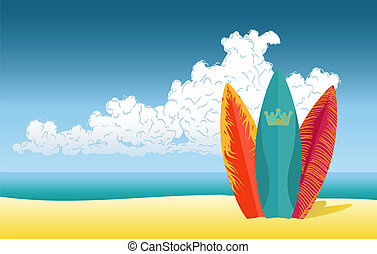 plage, planches surf