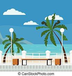 plage, plat, vecteur, bleu, illustration, style, dessin ...