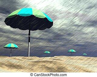 plage, -, pluie, render, 3d