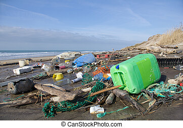 plage, pollution
