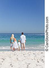 plage, portrait famille