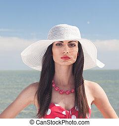 plage, portrait, femme, closeup, élégant