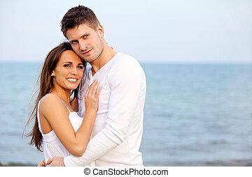 plage, pose couples, romantique