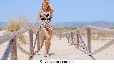 plage, poser, chemin, sexy, femme, jeune