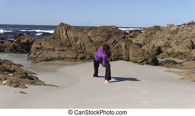 plage, pratique, yoga