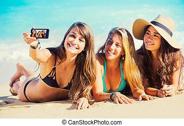 plage, prendre, filles, selfie