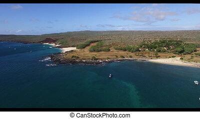 plage, rivage, rocheux, sablonneux, vu, au-dessus