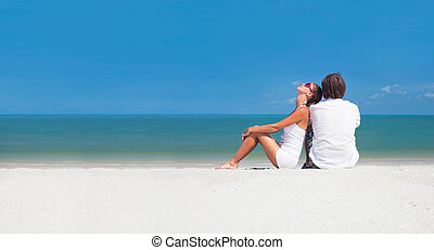 plage., romantique, lune miel, vacances, exotique, amants