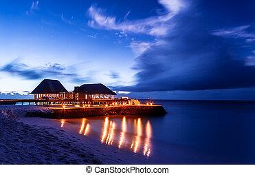 plage, romantique, restaurant