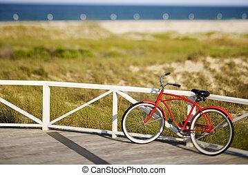 plage, rouges, croiseur, bicycle.