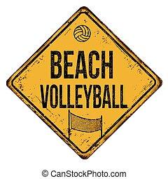 plage, rouillé, volley-ball, signe, métal, vendange