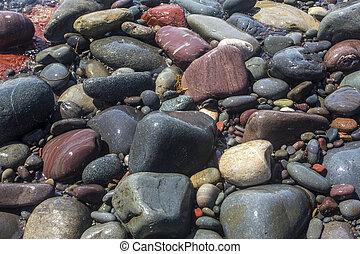 plage, rue., rochers, mariée, coloré