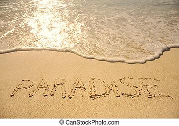 plage sable, écrit, paradis