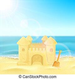 plage sable, château