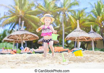 plage sable, girl, confection, peu, château, blanc, exotique