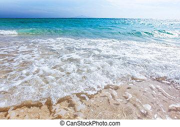 plage sable, mer, vague