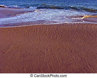 plage sable, mouillé