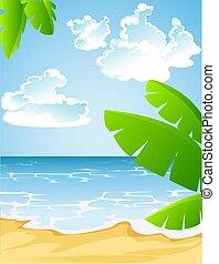 plage sablonneuse, été, ensoleillé