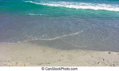 plage, sablonneux, 7, vagues