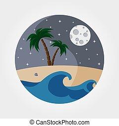 plage., sablonneux, nuit