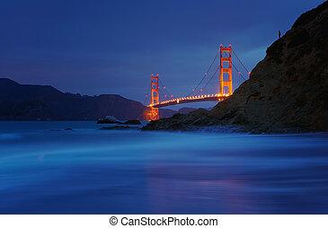 plage, san, usa, pont, boulanger, doré, francisco, portail, californie