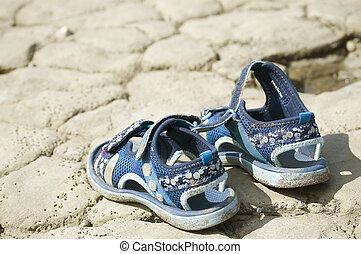 plage, sandales, enfant