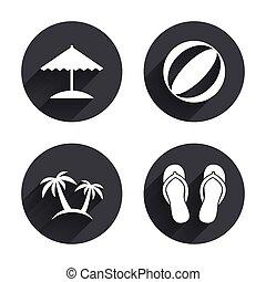 plage, sandals., parapluie, icons., fetes
