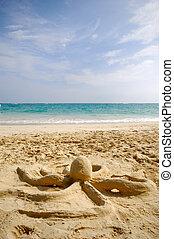 plage, sculpture, poulpe