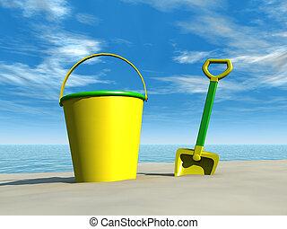 plage, seau, bêche