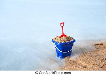 plage, seau, sable