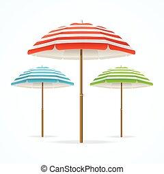 plage, set., vecteur, parapluie