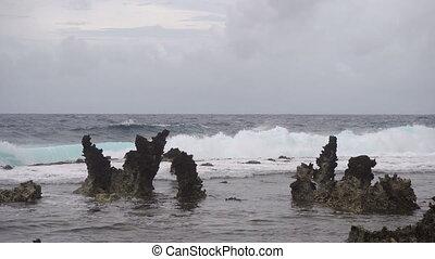 plage, siargao., philippines, exotique, rocheux, island.