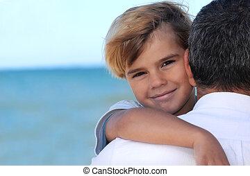 plage, sien, père tenant fils