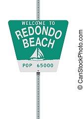 plage, signe bienvenu, redondo, route