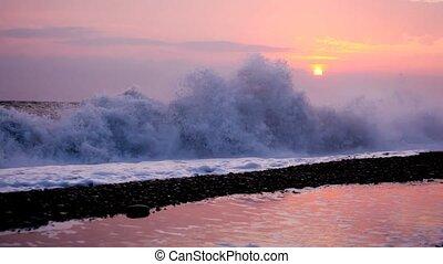 plage, silhouette, mer, jeune, courant, coucher soleil, fond, homme, heureux