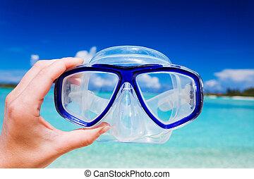 plage, snorkel, ciel, googles, contre