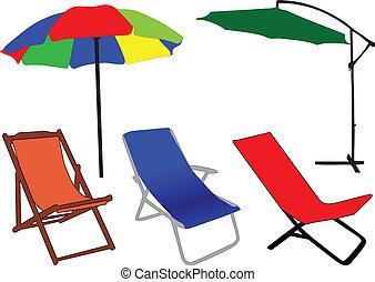 plage, soleil, chaise, parapluie, pont