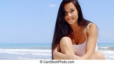 plage, soleil, femme, brunette, séance