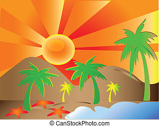 plage, soleil, paumes