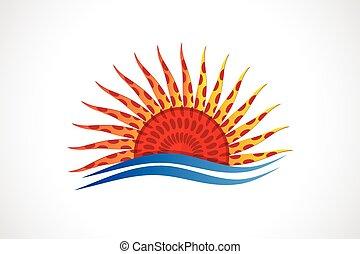plage, soleil, vagues, vecteur, logo