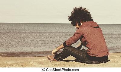 plage, solitaire, triste, séance homme