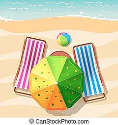 plage, sommet, parapluie, chaise, vue