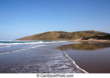 plage, sortant, transkei, afrique, côte, marée, sauvage, sud