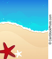 plage, starfishes