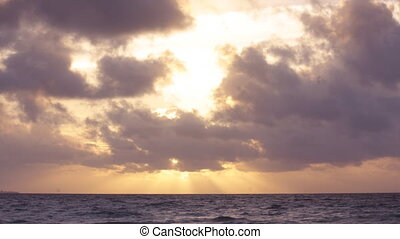 plage sud, floride, miami, levers de soleil