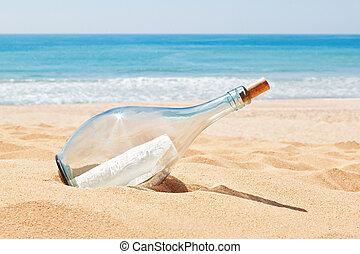 plage., summer., lettre, bouteille, détresse